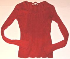 Cabi City Sweater Red Ribbed V Neck #264 Silk Cotton Size M Ladies Womens