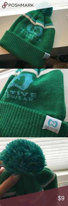 Pompom Beanie by Native Eyewear ❄️NEW❄️ Brand new never used cue pom pom hat. Great for cold and snow, with mountain sunglasses brand logo. green / blue / white / turquoise. Men or women,  unisex. NOT PACSUN but similar skater style PacSun Accessories Hats