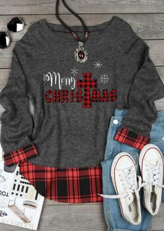 Plaid Christ Merry Christmas Snowflake Sweater - Dark Grey Shop the latest women's clothes and keep your style game strong with the freshest threads landing daily. Shopping is a right # Christmas Style, Merry Christmas, Christmas Snowflakes, Plaid Christmas, Christmas Shirts, Christmas Sweaters, Christmas Outfits, Christmas Presents, Christmas Decor