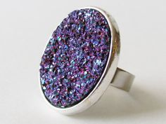 Druzy Ring Blue Druzy Ring Purple Druzy Ring Druzy Jewelry Statement Ring Cocktail Ring Adjustable Ring Iridescent Jewelry Women Jewelry
