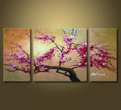 Huge Hand Painted Flowers Cherry Blossom Tree Oil Painting on Canvas KM487 | eBay