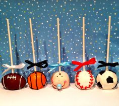 Sports Theme Baby Shower Cake Pops by JamiesCakePops on Etsy, $21.00
