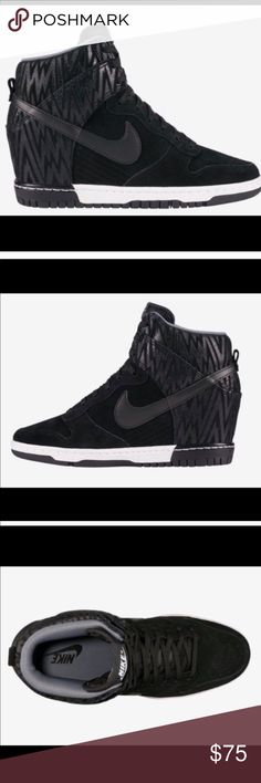 ebeccd148816 Nike Sky Hi Dunks in Black Leather Zig Zag These Nike wedge heels are so  comfortable
