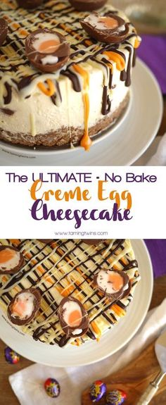 This Cadbury's Creme Egg Cheesecake Recipe (No Bake!) has been viewed over a million times. The ultimate Easter chocolate make, find out what all the fuss is about... Make with Philadelphia cream cheese, whipped cream (no eggs or gelatine) this is also suitable for vegetarians. Happy Easter!