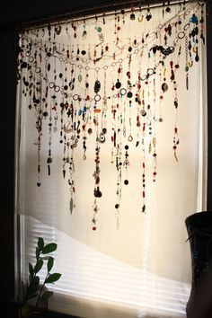 Gypsy Window Veil Diamond Eye Beaded Boho curtain w/Ethnic India Glass, Tribal metal beads,  Rare Copper Upcycle Scarf Suncatcher by TempleHouseArt on Etsy https://www.etsy.com/listing/257617163/gypsy-window-veil-diamond-eye-beaded