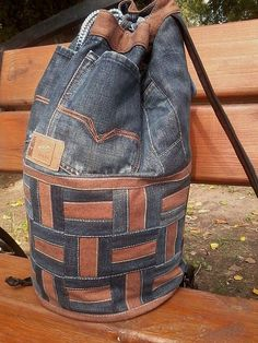 "Unique Patchwork Upcycled Eco Jeans Denim Backpack Sailor Bag Geometric Brown ""Wicker"" by bRucksack on Etsy https://www.etsy.com/listing/216525902/unique-patchwork-upcycled-eco-jeans"