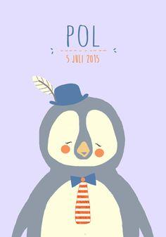 Geboortekaartje jongen - Pol - Pimpelpluis  https://www.facebook.com/pages/Pimpelpluis/188675421305550?ref=hl (# pinguïn - hoed - veer - pluim -  dieren - schattig - lief - origineel)
