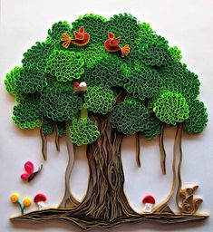 """This beautifully detailed art piece was a special custom request. The recipient must have been amazed at the intricacies in this work. Suganthi clearly loves creating and sharing her work, as she discusses how she creates each piece, and ends each blog post with well-wishes to her followers saying """"Have a nice day"""". Arte Quilling, Quilling Work, Origami And Quilling, Quilling Paper Craft, Origami Paper, Paper Paper, Cool Paper Crafts, Paper Tree, Foam Crafts"""