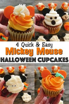 Mickey Mouse Halloween Cupcakes - The Mommy Mouse Clubhouse These Mickey Mouse Halloween Cupcakes will definitely give you ideas on how to bring some Disney Halloween magic into your kitchen! They are easy for kids and adults alike to make! Halloween Desserts, Spooky Halloween, Mickey Mouse Halloween, Halloween Cookies, Halloween Treats, Halloween Party, Halloween Sandwich, Disney Halloween Parties, Halloween Cupcakes Easy