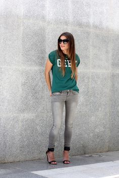 Green T Shirt with Grey Jeans