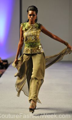 Carlos Vigil Couture Fashion Week New York 2013 #FashionWeek #Fashion #Couture #AndresAquino #Style #Women #Designer #Model #Pants #Sequence #Feathers