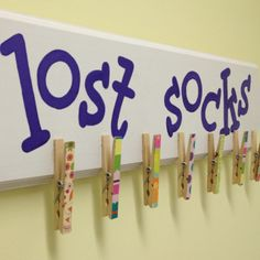 "Cute and functional Lost Sock rack from ""Upgrade Your Laundry Room"""