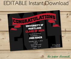 EDITABLE Instant Download  Graduation by ThePaperShamrock on Etsy, $8.00