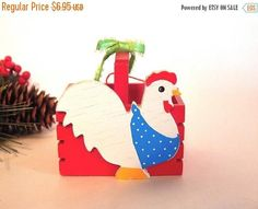 Red Egg Basket White Chicken Christmas Tree Ornament Wooden