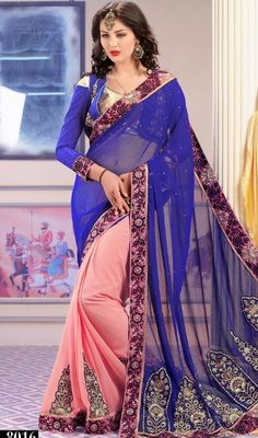 True beauty will come out as a results of the dressing trend with this pink and blue color georgette half n half sari. This attire is nicely developed with resham and lace work. Upon request we can make round front/back neck and short 6 inches sleeves regular saree blouse also. #CharmingBlueAndPinkFancySari