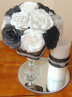 Floral Arrangement, Black and White, Wedding centerpieces, Silk flowers, Fake flower decor, home decor, paper roses, coffe filter flowers on Etsy, $55.00