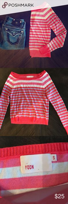 Yoon Pink and White Striped Long Sleeve Shirt Like new! No rips or stains. Incredibly soft. Made with bamboo and cotton. Yoon Tops Tees - Short Sleeve