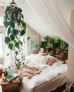 Home Design and Decoration Id … One Simple Living Room 27 beautiful bedrooms that will inspire you to renovate – … Check more at machesselbstnew.m … Upholstered bed – white – 228 cm – 110 cm … Dream Rooms, Dream Bedroom, Home Bedroom, Master Bedroom, Nature Bedroom, Jungle Bedroom, Nature Home Decor, Teen Bedroom, Magical Bedroom