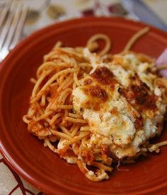 Baked Spaghetti with Ricotta... This is what I'm doing with the left over spaghetti I made!