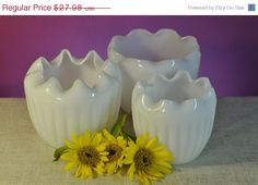Vintage Milk Glass Fluted Planter  Set of by ClassicCabin