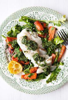 Roasted Cod with Pistachio Pesto, Carrots, and Arugula