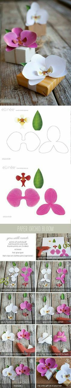 origami planta How to make paper Orchids - Tutorial and free printable from ellinée. (The white orchid would look especially lovely with some shimmer spray or perfect pearls to make it sparkle). Handmade Flowers, Diy Flowers, Fabric Flowers, Orchid Flowers, Origami Flowers, Giant Paper Flowers, Paper Roses, Flower Ideas, Diy Paper