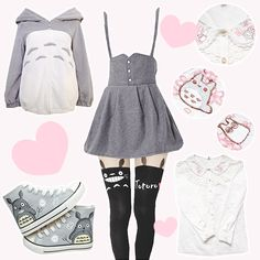 ♡ Jacket, Shoes, Jumper Skirt, Tights, and Blouse ♡ from Harajuku Fashion ♡ Price: $19.70 - $53.70 ♡ Use the code lovely7 for 10% off your purchase! ♡ You can find more cute My Neighbor Totoro items...