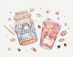 Cute Food Drawings, Cute Animal Drawings Kawaii, Arte Do Kawaii, Kawaii Art, Aesthetic Art, Aesthetic Anime, Hello Panda, Cute Food Art, Cute Art Styles