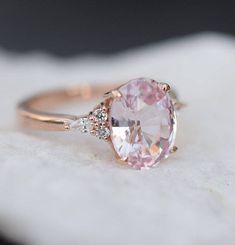 Blush sapphire engagement ring. Light peach pink sapphire 3.15ct oval diamond ring 14k Rose gold. Campari Engagement ring by Eidelprecious