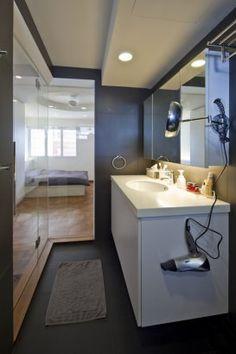 Project - Maisonette Apartment in Queenstown - Architizer. Toilet. HDB maisonette. Singapore public housing. Atelier M+A. Minimalist. Featured in Dwell Asia.