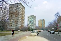 """West Berlin Bartningallee 1984. These assorted tower blocks were part of the """"Hansaviertel Interbau 1957 (Permanent Housing Exhibition) 1955-57″. They were experiments in 'modern living' after the war, high rise and low-rise. But everyone back then thought we would be living in science-fiction style towers by the 21st century"""
