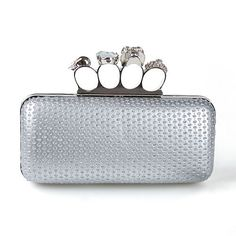 Ever Pretty Knuckle Rings Acrylic Stones Hand Shoulder Satin Clutch Evening Bag 39186