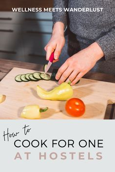 Cooking for one person is difficult enough. Add in limited space, tools, and time, cooking for one at a hostel can seem impossible. This post is full of tips for solo travelers cooking at busy hostel kitchens. Including types of dishes to make, ways to save money buying food for one person, and items to carry with you to make storing and cooking good food easier. | via Wellness Meets Wanderlust. | hostel cooking hacks, hostel food, hostel cooking ideas Cooking Hacks, Cooking Ideas, Cooking For One, Packing Tips, Ways To Save Money, Hostel, Saving Money, Travel Tips, Kitchens