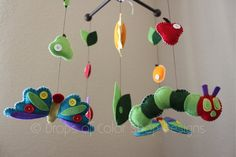 "Baby Crib Mobile - Baby Mobile - Nursery Caterpillar Butterfly Mobile ""Inspired by the Very Hungry Caterpillar"" Mobile - Crib Mobile. $90.00, via Etsy."