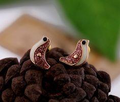 Shimmering Bird Stud Earrings