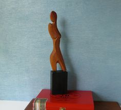 Vintage Modernist Sculpture / Abstract Woman / Artist Signed and Dated / Carved Raw Wood