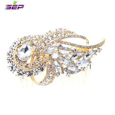 SEP Rhinestone Crystal Wedding Bridal Ribbon Gold Hair Comb Jewelry Accessories 4243GCL ** Continue to the product at the image link.