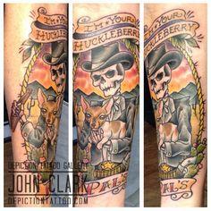 Artist : John Clark artist at Depiction Tattoo Gallery in Arlington, TX  #depictiontattoogallery #arlingtontattooshop #ftworthtattooshop #dallastattooshop #dfwtattooshop #tattoos #tattooinspiration #tattooideas #colortattoo #traditionaltattoo #traditionaltattoos #skeletontattoos #letteringtattoos #bannertattoos #dogtattoos #memorialtattoos #westerntattoos