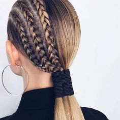 Sleek Ponytail & Half Braided Hairstyle Look for 2019 - Hair Styles Half Braided Hairstyles, Box Braids Hairstyles, Hairstyles Videos, Party Hairstyles, Sleek Ponytail, Braided Ponytail, Curly Hair Styles, Natural Hair Styles, Hairstyle Look