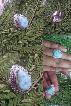 Larimar Rings, Gemstone Rings, Boho Life, Victorian Jewelry, Bohemian Jewelry, Statement Jewelry, Bridesmaid Gifts, Ring Designs, Jewelry Gifts