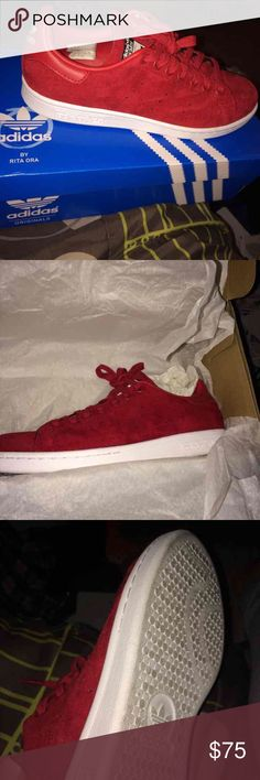 Rita Ora X Stan Smith Worn once in great condition. Suede upper Adidas Shoes Sneakers