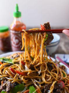 Beef Lo Mein: REAL Restaurant Recipe! | The Woks of Life Takeout Restaurant, Restaurant Recipes, Asian Recipes, Ethnic Recipes, Beef Recipes, Asian Foods, Chinese Recipes, Noodle Recipes, Oriental Recipes