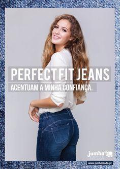 """O Jumbo Moda lança a sua nova coleção capsula """"Perfect Fit Jeans, acentuam a minha confiança, que prometem melhorar a silhueta feminina, definindo-a e moldando as suas curvas, através do efeito push-up. Estes novos jeans têm um cunho """"Made in Portugal"""" e ..."""
