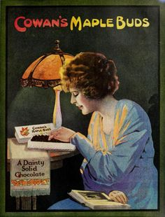 """What's not to love about a """"dainty, solid chocolate?"""" #vintage #Edwardian #food #ads"""
