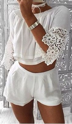 #summer #musthave #outfits | White Bell Sleeve Two Piece Set