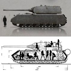 """Panzer VIII """"Maus"""" The massive German tank nicknamed the """"Mouse"""" weighed in at 188 tons. It's sheer size made it one of the biggest tanks to ever be produced. Manned by a panzer crew of 6 or as the bottom picture illustrates, 1 panzer driver, 1 stripper dressed as a panzer driver and 9 additional strippers…(GRH)"""