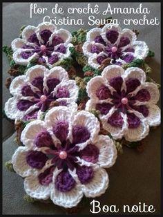 Crochet Flower Tutorial, Crochet Flower Patterns, Crochet Stitches Patterns, Doily Patterns, Crochet Motifs, Knit Or Crochet, Crochet Baby, Crochet Flip Flops, Crochet Butterfly