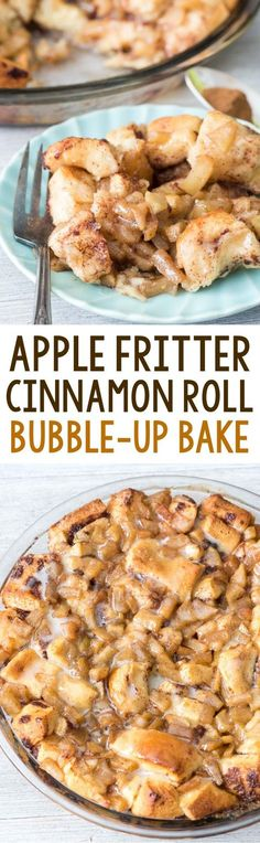 Easy Apple Fritter Cinnamon Roll Bake - canned cinnamon rolls mixed with cinnamon apples baked like monkey bread! It's like an apple fritter cinnamon roll!
