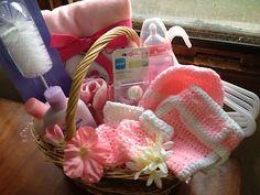 New Deluxe Pink Baby Girl Gift Basket Baby Bath Shower Crochet Set Supplies | eBay