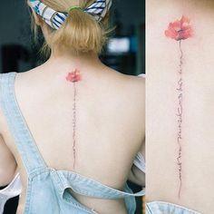 Flower Spine Tattoos, Pretty Flower Tattoos, Line Tattoos, Body Art Tattoos, Cool Tattoos, Ribbon Tattoos, Tasteful Tattoos, Subtle Tattoos, Small Tattoos
